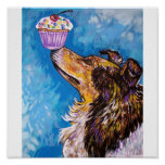 CUPCAKE COLLIE DOG PRINT