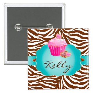 Cupcake Cookie Bakery Zebra Name Tag Button