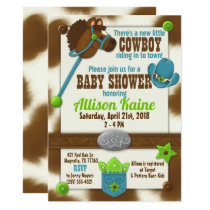 Cupcake Cowboy Baby Boy Shower Invitation