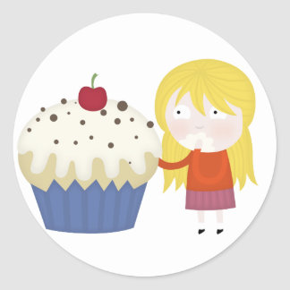 cupcake craving classic round sticker