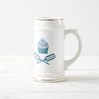 Cupcake & Crossed Beaters In Blue Beer Stein