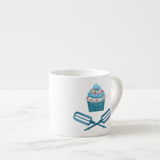 Cupcake & Crossed Beaters In Blue Espresso Cup