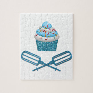 Cupcake & Crossed Beaters In Blue Jigsaw Puzzle