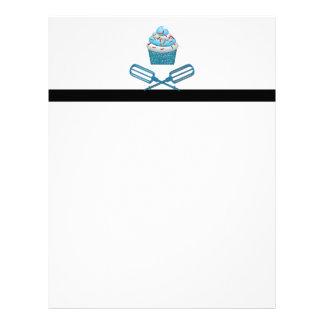 Cupcake & Crossed Beaters In Blue Letterhead