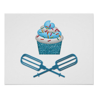 Cupcake & Crossed Beaters In Blue Poster
