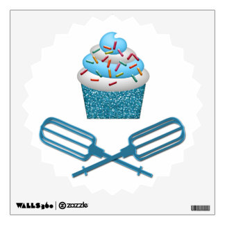 Cupcake & Crossed Beaters In Blue Wall Sticker