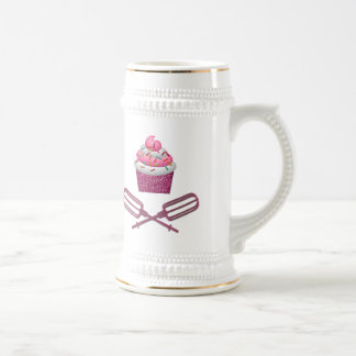Cupcake & Crossed Beaters In Pink Beer Stein