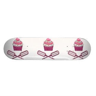 Cupcake & Crossed Beaters In Pink Skateboard
