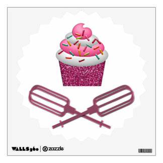 Cupcake & Crossed Beaters In Pink Wall Decal