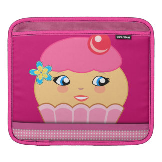 Cupcake Cute Character Kawaii Pink iPad Sleeve