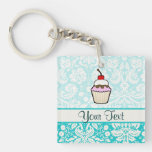 Cupcake; cute Double-Sided square acrylic keychain