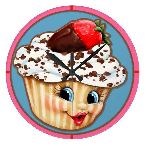 CUPCAKE.Cute face w/ Strawberry.Icing.Bakery. Wallclocks