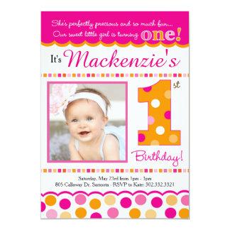 Cupcake Cutie Pie (Pink & Orange) First Birthday Card