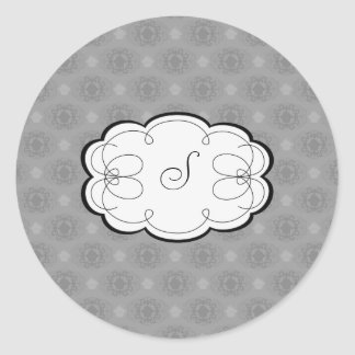 Cupcake Damask Set (Black And White) Classic Round Sticker