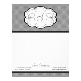 Cupcake Damask Set (Black And White) Letterhead
