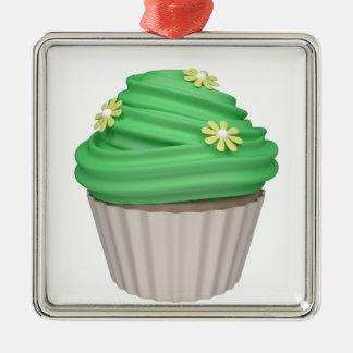 Cupcake de menta adorno navideño cuadrado de metal