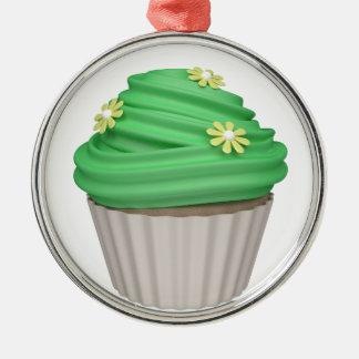 Cupcake de menta adorno navideño redondo de metal