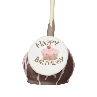 Cupcake Design Happy Birthday Cake Pops