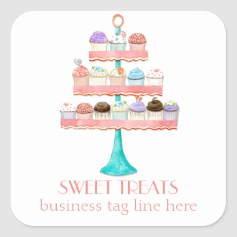Cupcake Dessert Baking Bakery Business Package Square Sticker