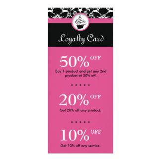 Cupcake Discount Loyalty Cards Flower Damask Pink