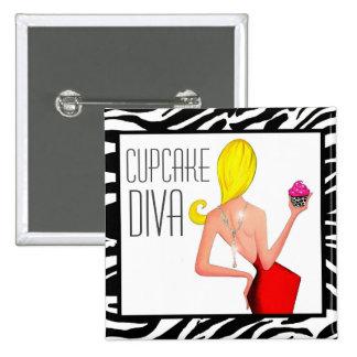 """Cupcake DIVA"" Pinback Button"