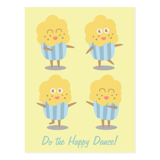 Cupcake Doodle: Kawaii Cupcake dancing happily Postcard