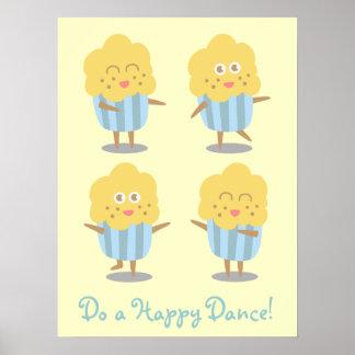 Cupcake Doodle: Kawaii Cupcake dancing happily Poster
