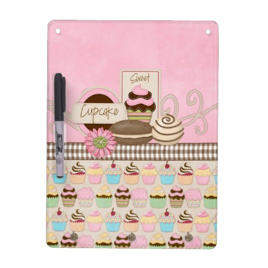 Cupcake dry erase board with key holders