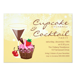 "Cupcake Exchange & Cocktail Party Invitation-cream 5"" X 7"" Invitation Card"