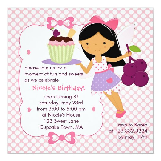 Cupcake Fairy Purple And Pink Girly Birthday Party Invitation