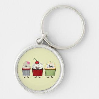 Cupcake family frosting sprinkles cherry cakes hea keychain
