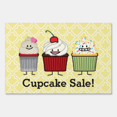 Cupcake family frosting sprinkles cherry cakes yard sign