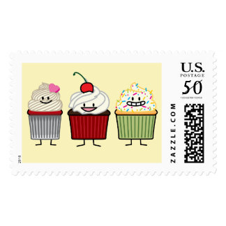 Cupcake family frosting sprinkles cherry heart postage