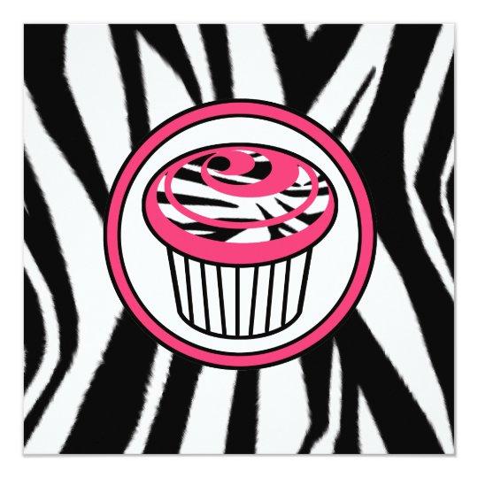 Cupcake Fashion Invitation - Zebra Print / Pink
