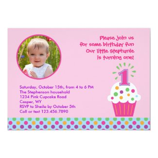 "Cupcake First Birthday Party Photo Invitation 5"" X 7"" Invitation Card"
