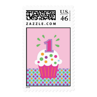 Cupcake First Birthday Postage