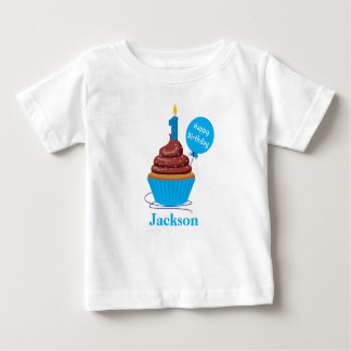 Cupcake First Birthday Tshirt blue Personalized