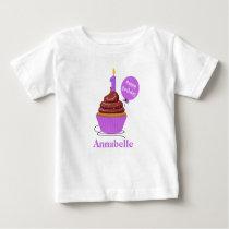 Cupcake First Birthday Tshirt purple Personalized