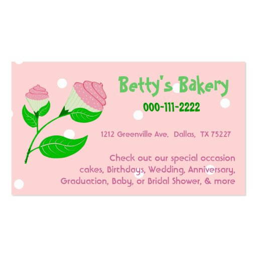 Cupcake flower business card coupon zazzle for Zazzle business card coupon