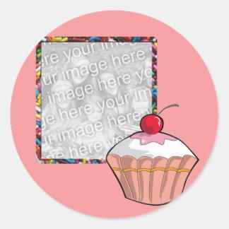 cupcake frame classic round sticker