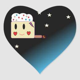 cupcake from Space Heart Sticker