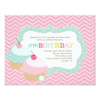 Cupcake Fun Colorful Birthday Party Card