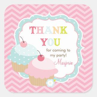 Cupcake Fun Colorful Thank you Favor Square Sticker