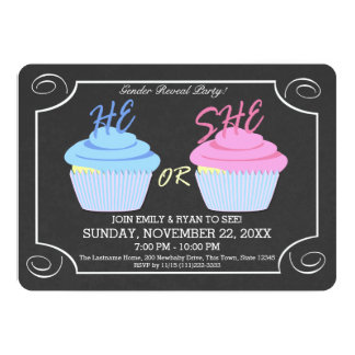 Cupcake Gender Reveal Party Card