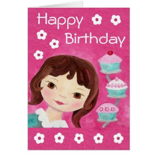 Cupcake Girl birthday card