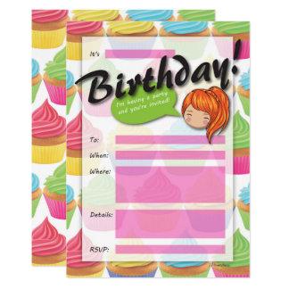 Cupcake Girl Birthday Invitation - Orange Hair