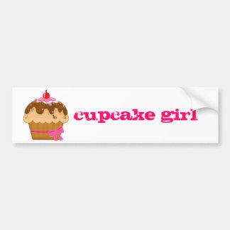 cupcake girl bumper sticker...in hot pink bumper sticker