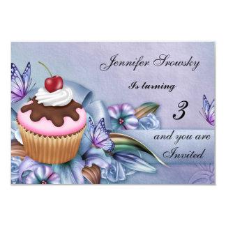 Cupcake Girls Birthday Party Card