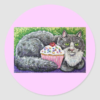 cupcake grey cat classic round sticker
