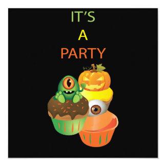 Cupcake Halloween Birthday Party Invitation